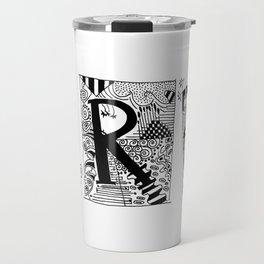 ART typography black and white drawing Travel Mug