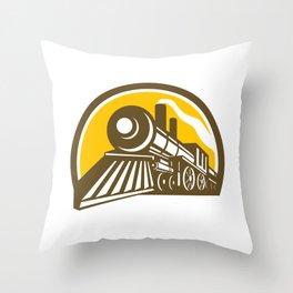 Steam Locomotive Train Icon Throw Pillow