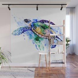 Swimming Sea Turtle Wall Mural