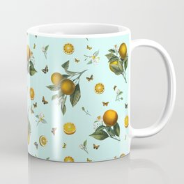Oranges and Butterflies on Mint Coffee Mug