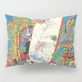 1950 Poster of Alsace, Loire Valley in France Pillow Sham