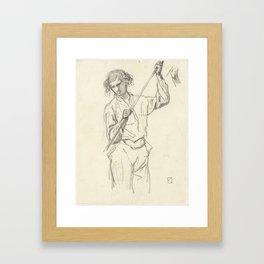 Figuurstudie van een man met een stok in de hand, Johan Daniël Koelman, 1841 - 1857 Framed Art Print
