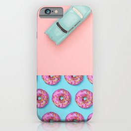 Pastel Pink and Blue/Vintage Rotary Dial Telephone/Retro Car/Sparkly Unicorn/Colorful Donuts iPhone Case