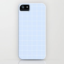 Powder Blue and White Grid Pattern iPhone Case
