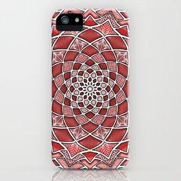 12-Fold Mandala Flower in Red iPhone Case