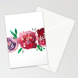 Three Red Christchurch Roses Stationery Cards