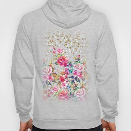 Modern watercolor spring floral and gold dots pattern Hoody