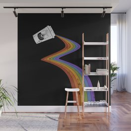 Coffee Cup Rainbow Pour // Abstract Barista Wall Hanging Artwork Graphic Design Wall Mural