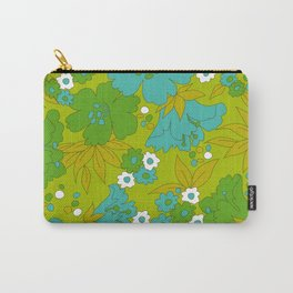 Green, Turquoise, and White Retro Flower Design Pattern Carry-All Pouch