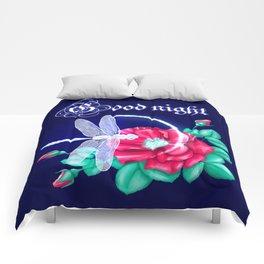 Full bloom | Dragonfly loves roses Comforters