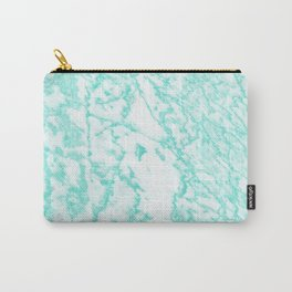 Modern abstract teal white marble pattern Carry-All Pouch