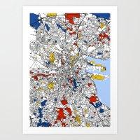 mondrian Art Prints featuring Dublin mondrian by Mondrian Maps