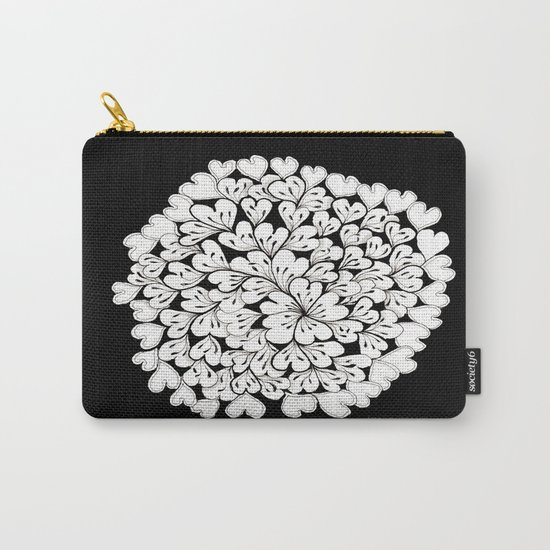 Hearts and Flowers Zentangle black and white illustration Carry-All Pouch