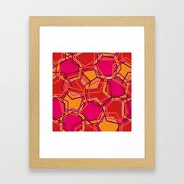 Red Abstract Hexagon Framed Art Print