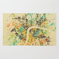 london map Area & Throw Rugs featuring LONDON MAP by Nicksman