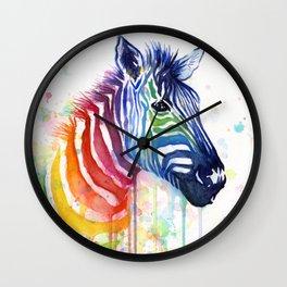 Zebra Rainbow Watercolor Whimsical Animal Wall Clock