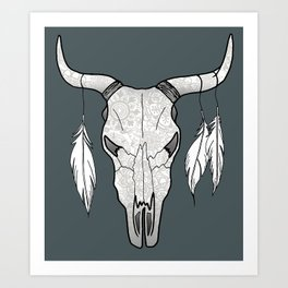 Southwestern Decorated Bull Skull Art Print