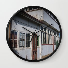 Weathered White Building Wall Clock