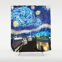 Tardis Art Starry City Night Shower Curtain