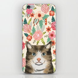 Cat floral pet portrait tabby cats iPhone Skin