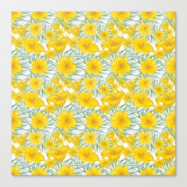 Yellow daylily flower pattern Canvas Print