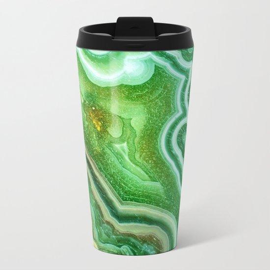 Green marble Metal Travel Mug