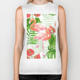 Flamingo garden Biker Tank
