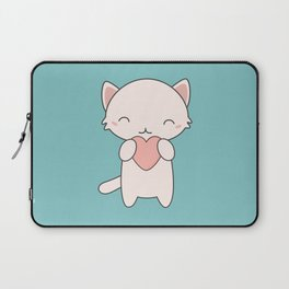 Kawaii Cute Cat With Hearts Laptop Sleeve