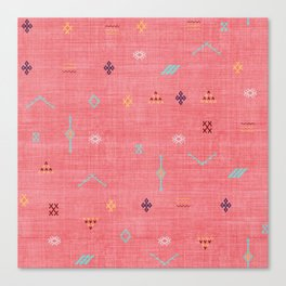 Cactus Silk Pattern in Pink Canvas Print