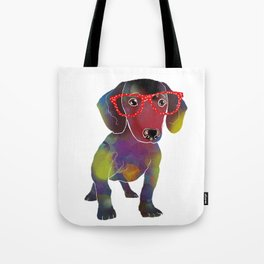 hipster dachshund Tote Bag