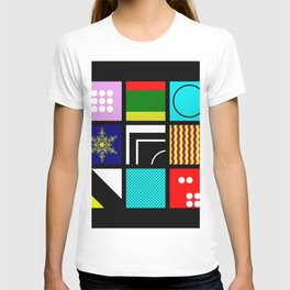 Eclectic 1 - Random collage of 9 bold colourful patterns in an abstract style T-shirt