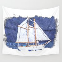 sailboat Wall Tapestries featuring Sailboat by Michael P. Moriarty