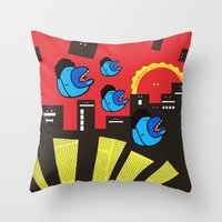 gossip girl Throw Pillows featuring Gossip by Antony Wang
