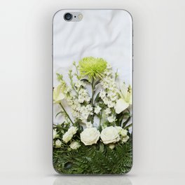 Green and Cream Flowers iPhone Skin