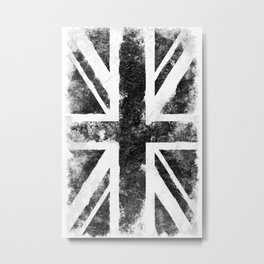Black Grunge UK Flag Metal Print