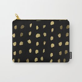 Preppy brushstroke free polka dots black and gold spots dots #society6 #decor #buyart #artprint Carry-All Pouch