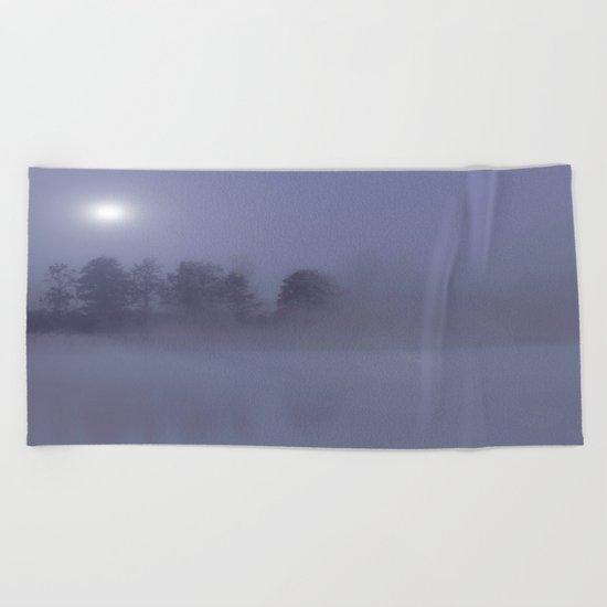 Silent Night in Foggy Atmosphere Beach Towel