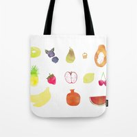 fruits Tote Bags featuring fruits by Ewa Pacia