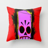 grim fandango Throw Pillows featuring Manny Calavera, Red version (Grim Fandango) by acefecoo