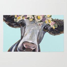 Cow Art Print, Flower Crown Cow Art Rug