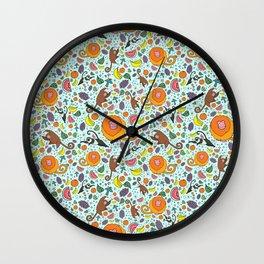 Cute Rainforest Pattern Wall Clock