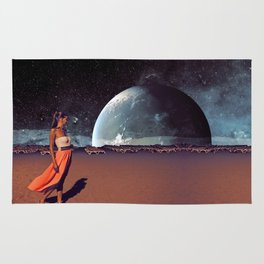 Lonely Lady in Space Rug