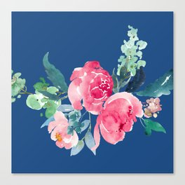 Blue and Pink Peony Watercolor Canvas Print