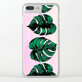 plants on pink Clear iPhone Case