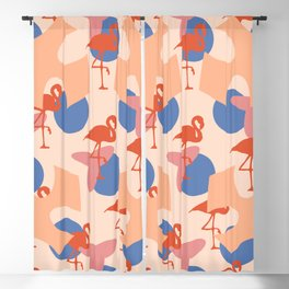 Flamingo and leaves pattern coral blue Blackout Curtain