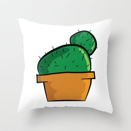 Chubby Cactus Majeran illustration Throw Pillow