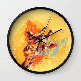 Hello - giraffe portrait, cute and funny animal illustration Wall Clock