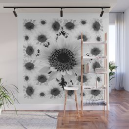 Black & White Abstracted Floral Art Wall Mural