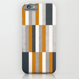 Mustard Navy Blue Grey Stripes, Abstract Retro Nautical iPhone Case
