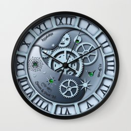 Steampunk clock silver Wall Clock